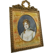 Miniature Portrait Queen Louise of Prussia signed Laurence in Bronze Frame - c. 19th Century, 