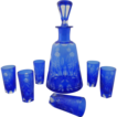 Cobalt Blue and Clear Bohemian Cut Crystal Cordial Decanter and Six Marching Glasses Set - c. 20th Century, Bohemia