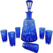 Cobalt Blue and Clear Bohemian Cut Crystal Cordial Decanter and Six Marching Glasses Set - c.