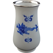 Meissen Porcelain and 800 Silver Rimmed Kakiemon Style  / Chinoiserie Bud Vase - c. 20th Centu