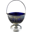 English Reticulated Silver Plate Sugar Round Basket with Cobalt Blue Glass Liner - c. 20h Century, England