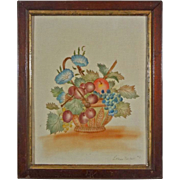 American Folk Art Theorem Picture on Velvet Fruit Basket with Grapes and Cherries Signed ...
