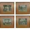 Set 4 Italian Lithographs Signed G. Dura on Plate  - c. 19th Century, Italy