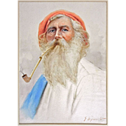 Antique Watercolor Portrait of Maltese Fisherman in Red Cap Smoking a Pipe signed G. Esposito