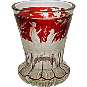 Antique Bohemian Beaker Hunt Scene Red-Flashed Glass Beaker Etched - c. 19th Century, Bohemia