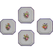 Set of 4 Early Antique Square Porcelain Bowls Floral, Cobalt and Gilt