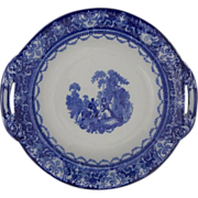 Antique Doulton Watteau Doulton Blue White Transferware Footed Serving Bowl - c.1900's, Englan