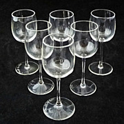 Val St. Lambert Signed Set Cordials Six (6) Crystal - c. 20th Century, Belgium