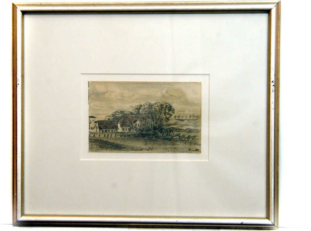 Roger Kuntz Original Pencil Sketch of a Farmhouse