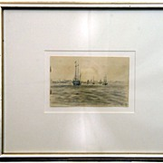 Roger Kuntz Signed Original Sketch of a Harbor Scene