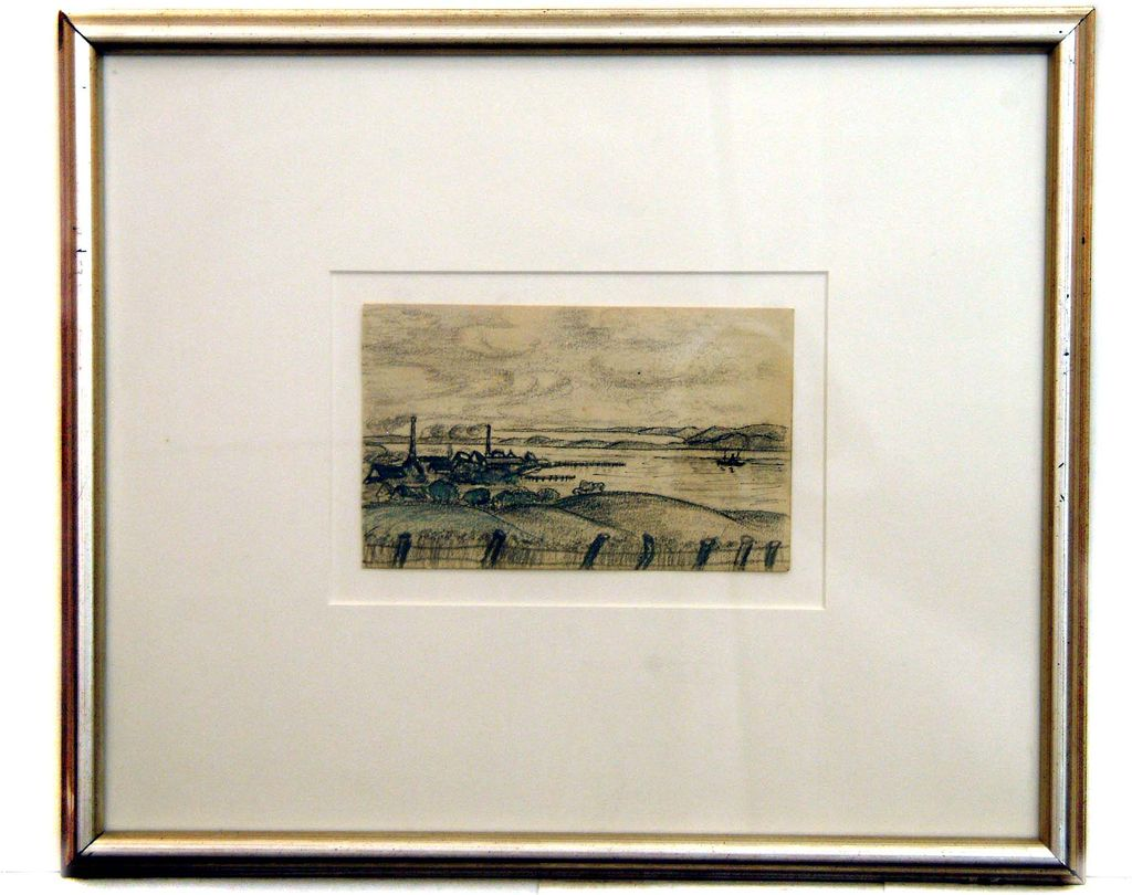 Roger Kuntz Original Pencil Sketch of a River Scene