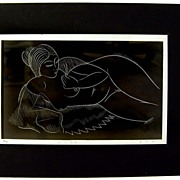 "Eric Gill Wood Block Print Hand Signed Artist Proof ""Nude"""