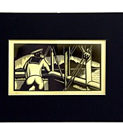 "Eric Gill Wood Block Print Hand Signed Artist Proof ""Outlook"""