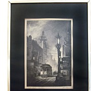 "John Kelly Artist Proof Lithograph of Sketch Titled ""Chinatown"""