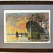 "John Kelly Signed and Numbered Lithograph Titles ""Dockside"""