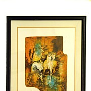"Lebadang Signed and Numbered Lithograph Titled ""Horses In the Wind"""