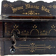 19th Century Wooden Music Box with Bellows