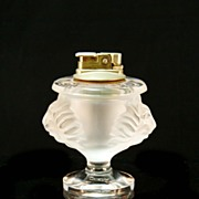 Signed Lalique Crystal Lion's Head Cigarette Lighter