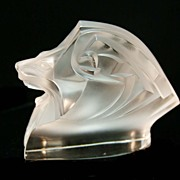 Signed Lalique Crystal Lion Head Paperweight