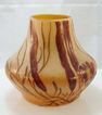 Legras Vase Acid Etched with Maroon Flowers