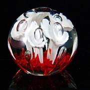 Glass Paper Weight with Lily Motif