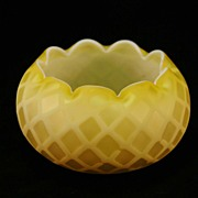 Yellow Satin Glass - Diamond Quilted Rose Shape Bowl c.1870
