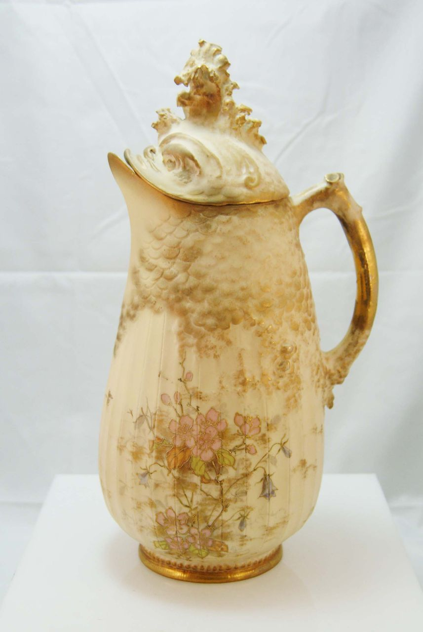 Unique Amphora Fish Design Porcelain Pitcher c. 1899-1905
