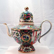 Rose Medallion Chinese Porcelain Teapot c. 1900