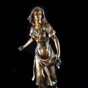 Sylvain Knisburger Spelter of Female Figurine