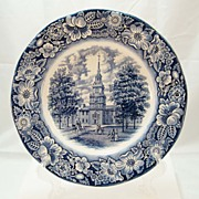 Independence Hall Blue Flow Collectible from Staffordshire England