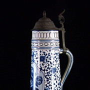 Late 19th Century Royal Bonn Stein with Pewter Lid - with Mark