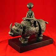 Boulanger Bronze of Girl on Rhino
