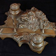 Lion's Head Bronze Inkwell