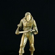 Bronze Pirate Figure on Wooden Base with Resin Face and Knee