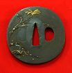 Casted Tsuba with Plants and Bugs c. 19th century