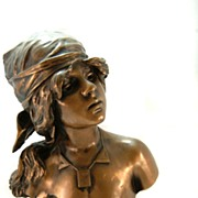 Signed Bronze E. Villani Bust