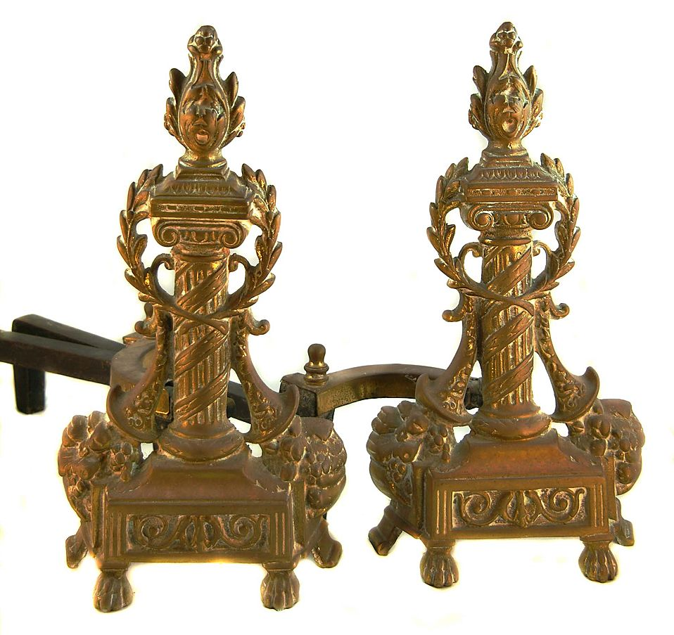 Ornate French Bronze Andirons