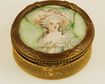 Brass Compact with Hand-Painted Porcelain Inset