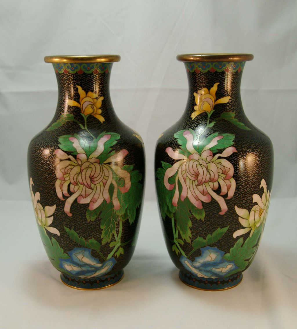 Chinese Cloisonne Black Vases from Menji Period c. 1868-1912