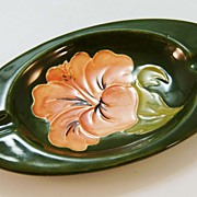 Moorcroft Dark Green Pottery Ashtray made in England c. 1960
