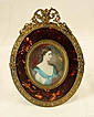 Hand-Painted Picture on Ivory with French Tortoise-Shell Frame