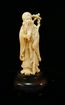 Carved Ivory Asian Figure of Wise Man with Staff and Scroll
