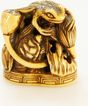 Hand Carved and Signed Ivory Netsuke of Frog with Lotus Seal c. 19th C.
