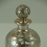 Perfume Bottle with Decorative Sterling Silver Overlay