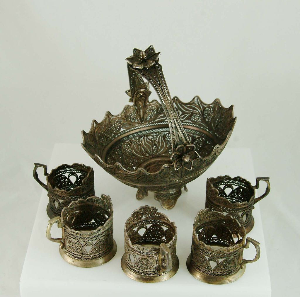 Silver Basket and Cups