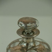 Perfume Bottle Overlaid with Sterling Silver