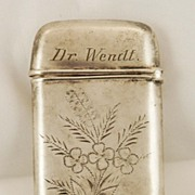 Sterling Silver Match Box stamped Dr. Wendt c. 1880's