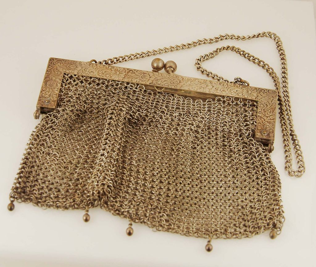 German Silver Mesh Handbag