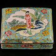 Chinese Trinket Box covered with Hand-Painted Enamelware