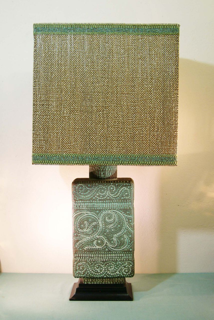 Sascha Brastoff Lamp and Gold Shade with Green Trim